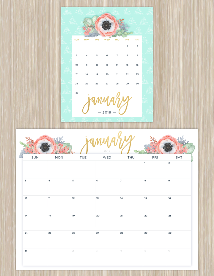 Printable Calendars For A More Floral 2016