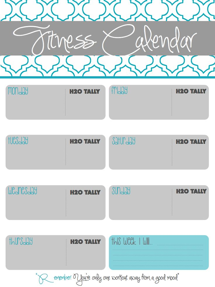 Printable Fitness Calendar I Made To Track Workouts, Water Intake