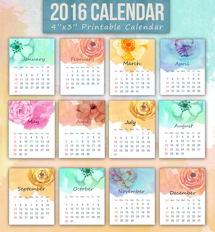 Printable Mini Calendar For 2016 Free To Download And Print