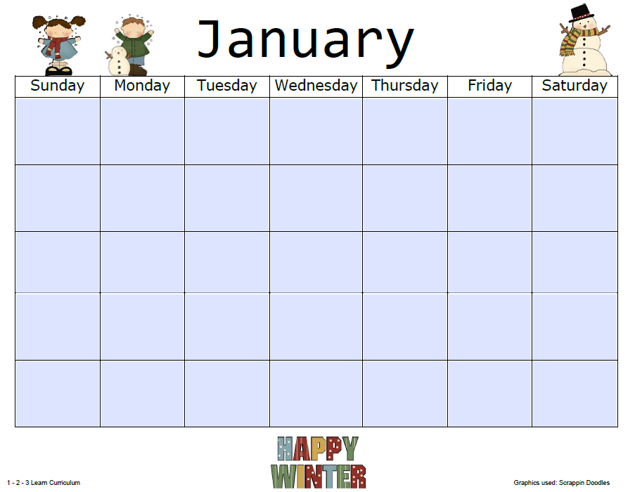 Printable Monthly Calendar For Kids — Crafthubs
