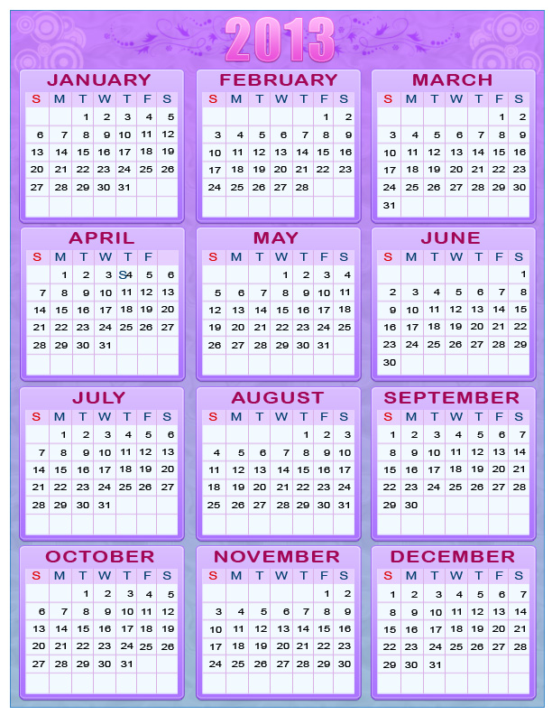 Printable New Year 2012 & 2013 One Page Calendars « Randomly Mental ™