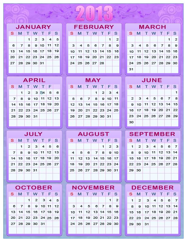 Printable New Year 2012 & 2013 One Page Calendars « Randomly Mental ™
