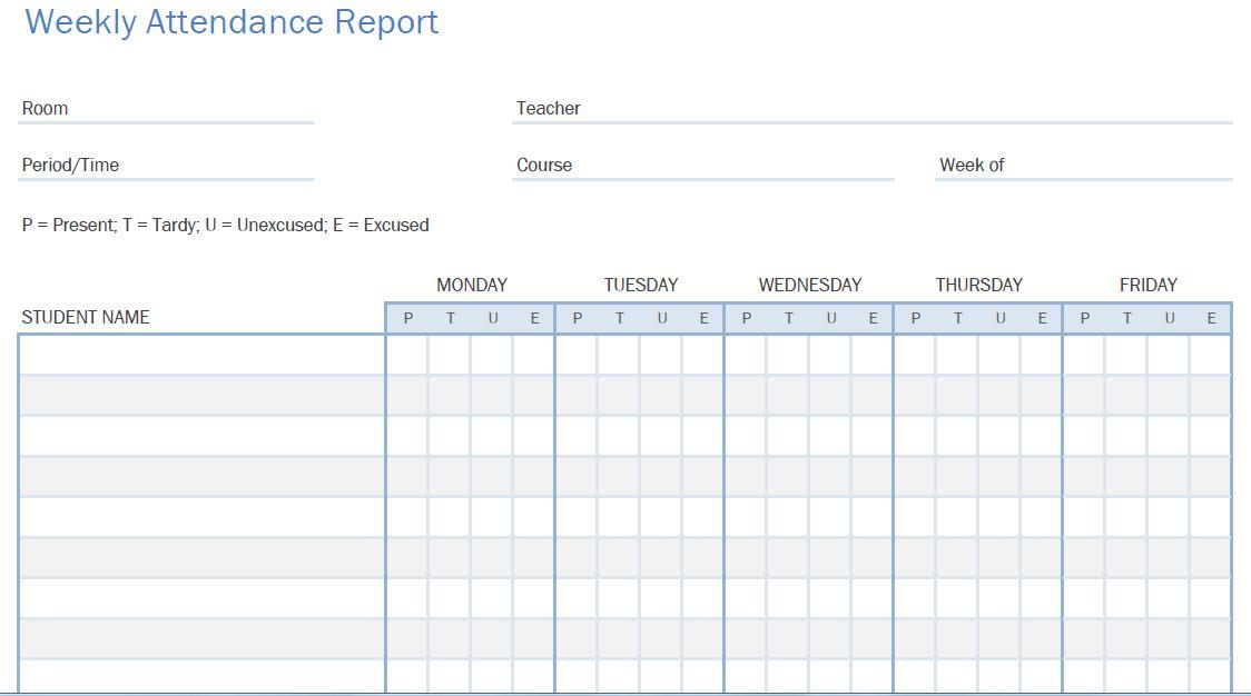 Printable Pdf Student Attendance Calendars