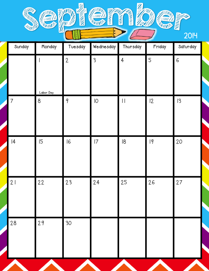 Printable September Calendar Kindergarten