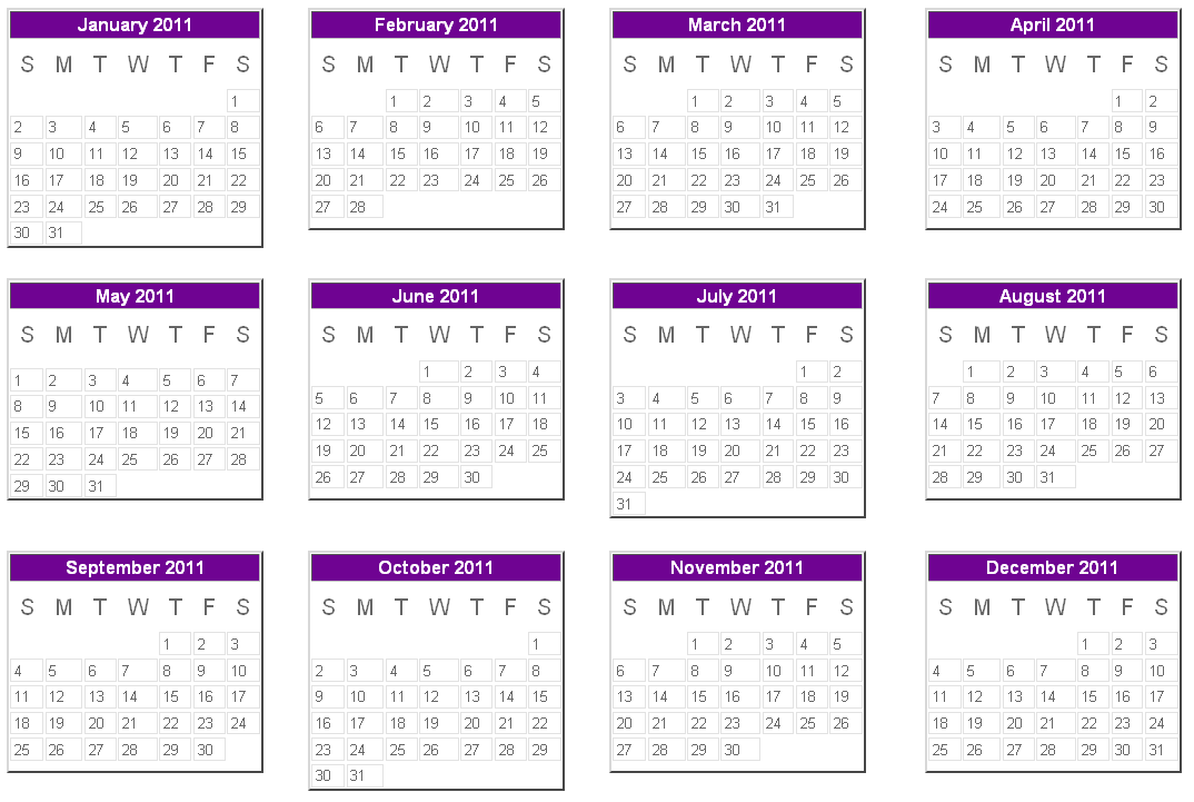 Printable Yearly Calendar 2011
