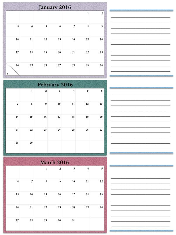 Quarterly Calendar 2016