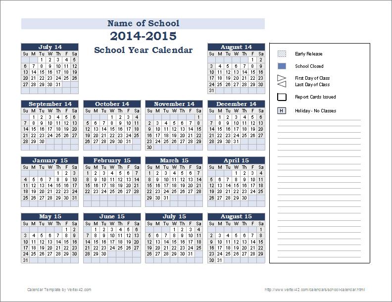 School Calendar Template