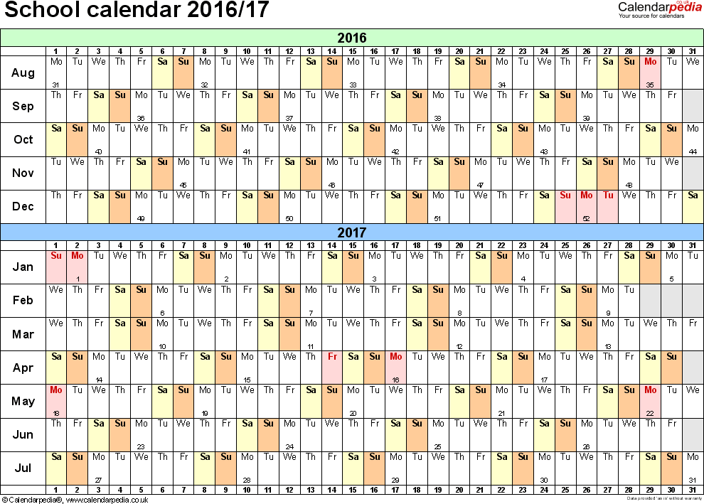 School Calendars 2016 2017 As Free Printable Pdf Templates