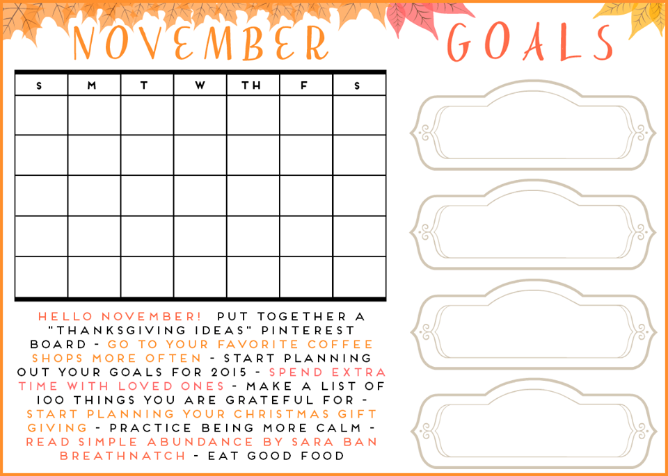 Secret Owl Society  Free November Calendar Printable