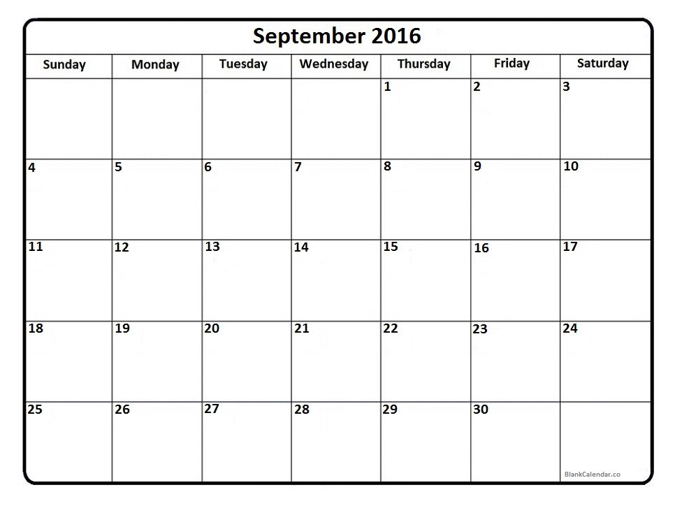 September 2016 Printable Calendar