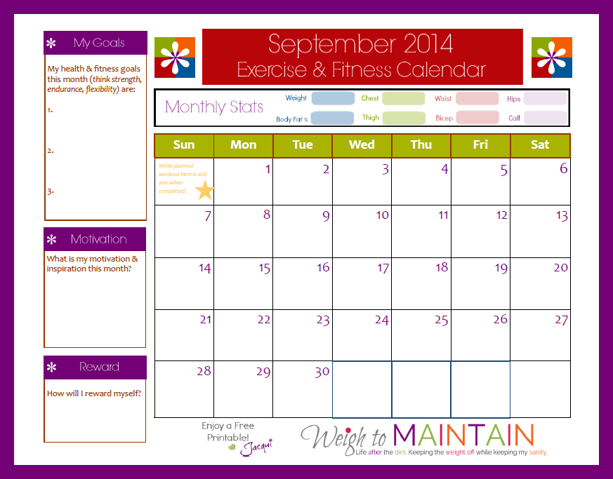 September Printable Workout Calendar