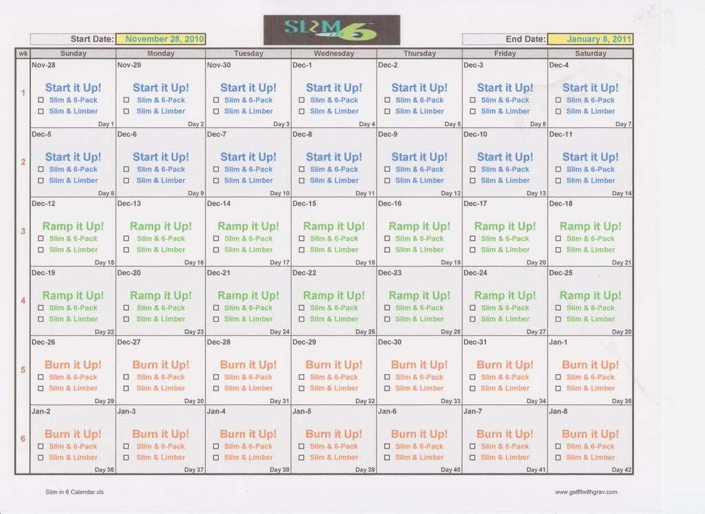 Slim In 6 Printable Calendar