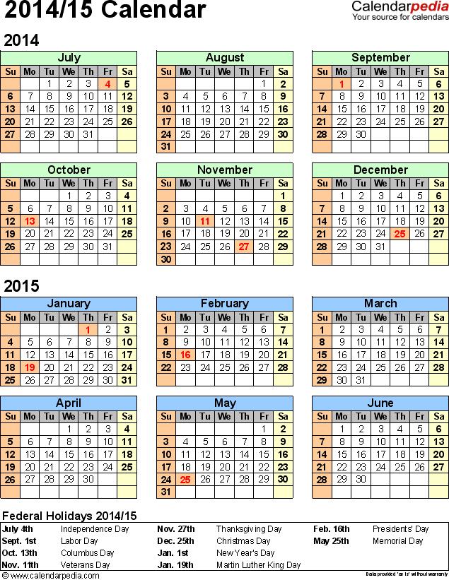 Split Year Calendar 2014 2015