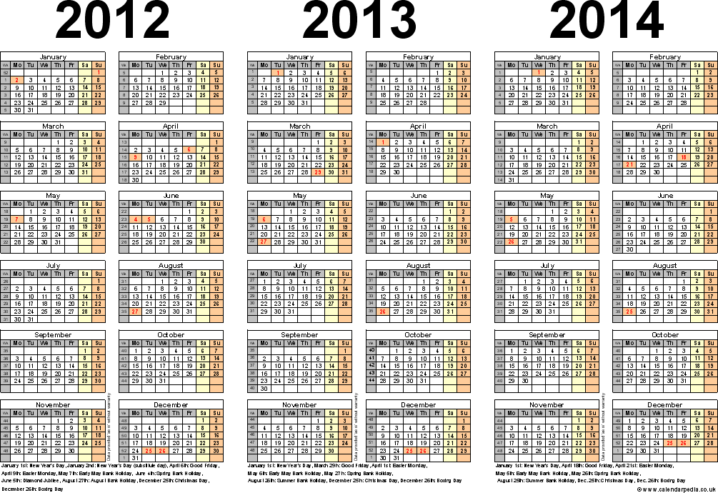 Three Year Calendars For 2012, 2013 & 2014 (uk) For Pdf