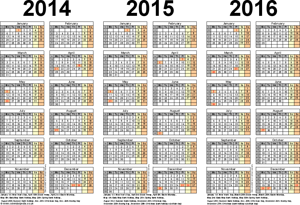 Three Year Calendars For 2014, 2015 & 2016 (uk) For Word
