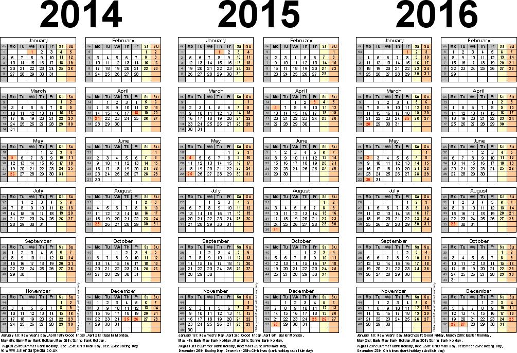 multiple year calendar 201620172018 calendar 4 three year printable