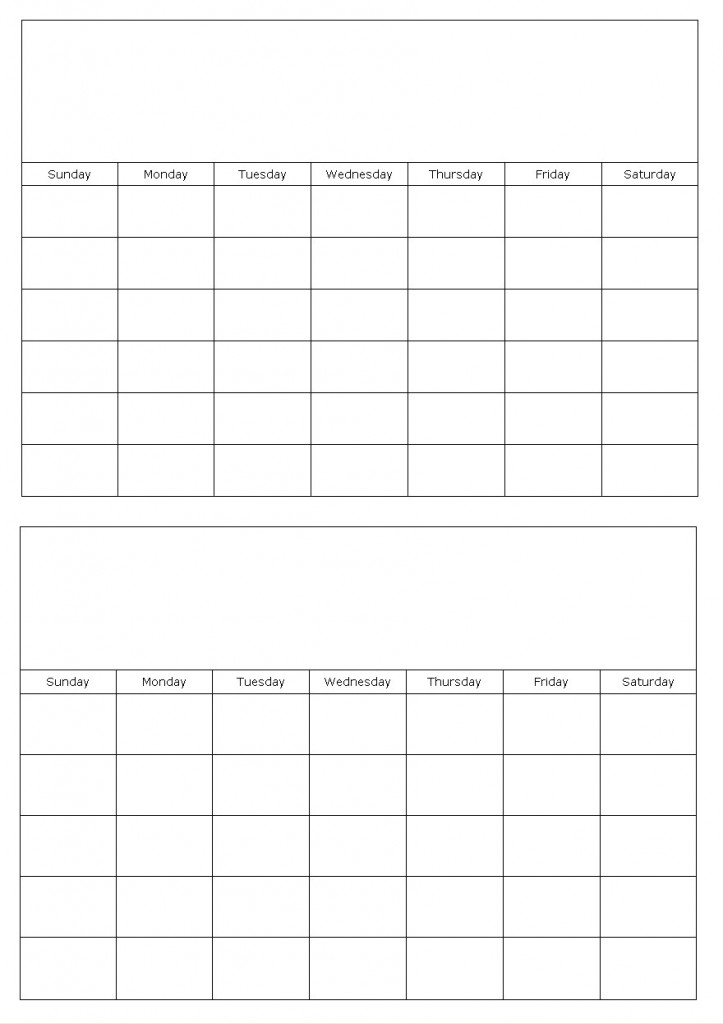 Two Months On A Page Blank Calendar Template