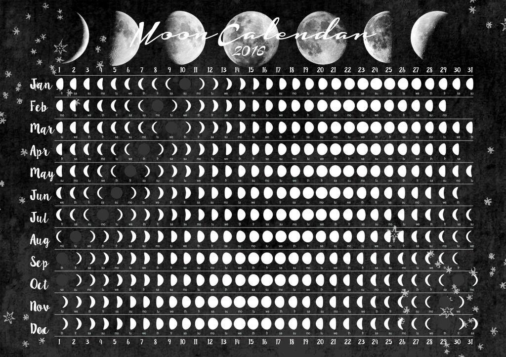 Unique Moon Calendar 2016 Related Items