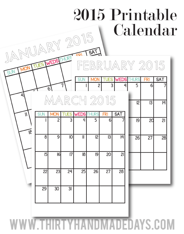 Updated Printable Calendars For 2015