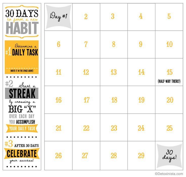Use This Printable Calendar To Reach Your Goals In 30 Days
