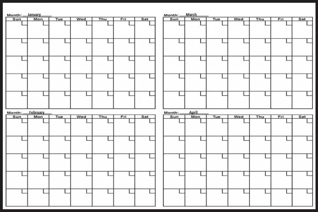 We 4 Month Calendar Printable
