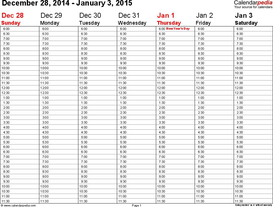 Weekly Calendar 2015 For Pdf