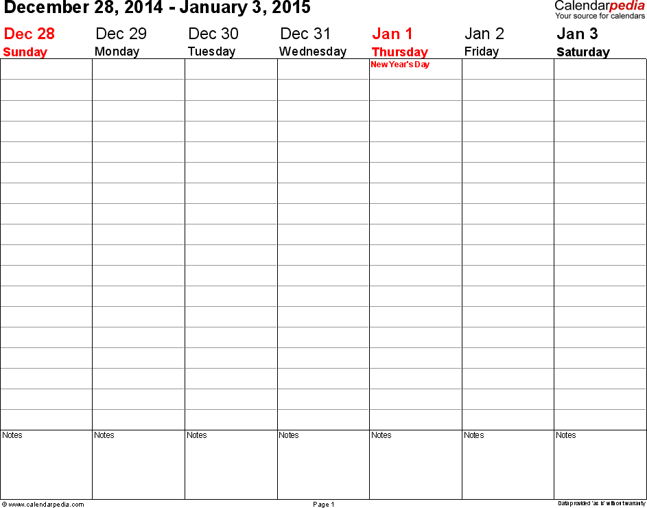 Weekly Calendar 2015 For Word