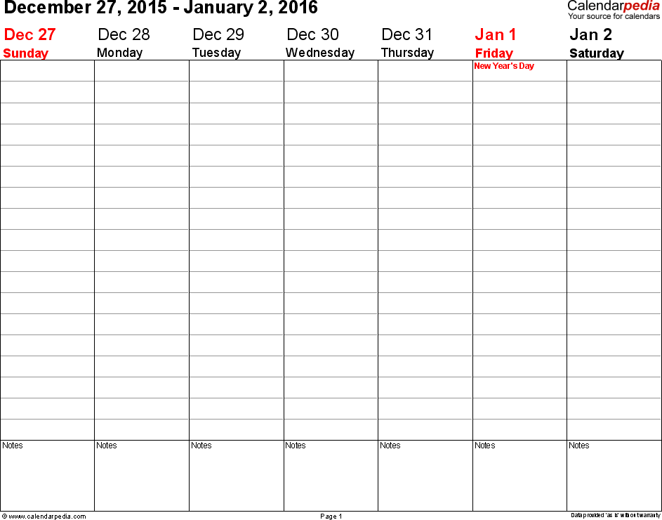 Weekly Calendar 2016 For Word