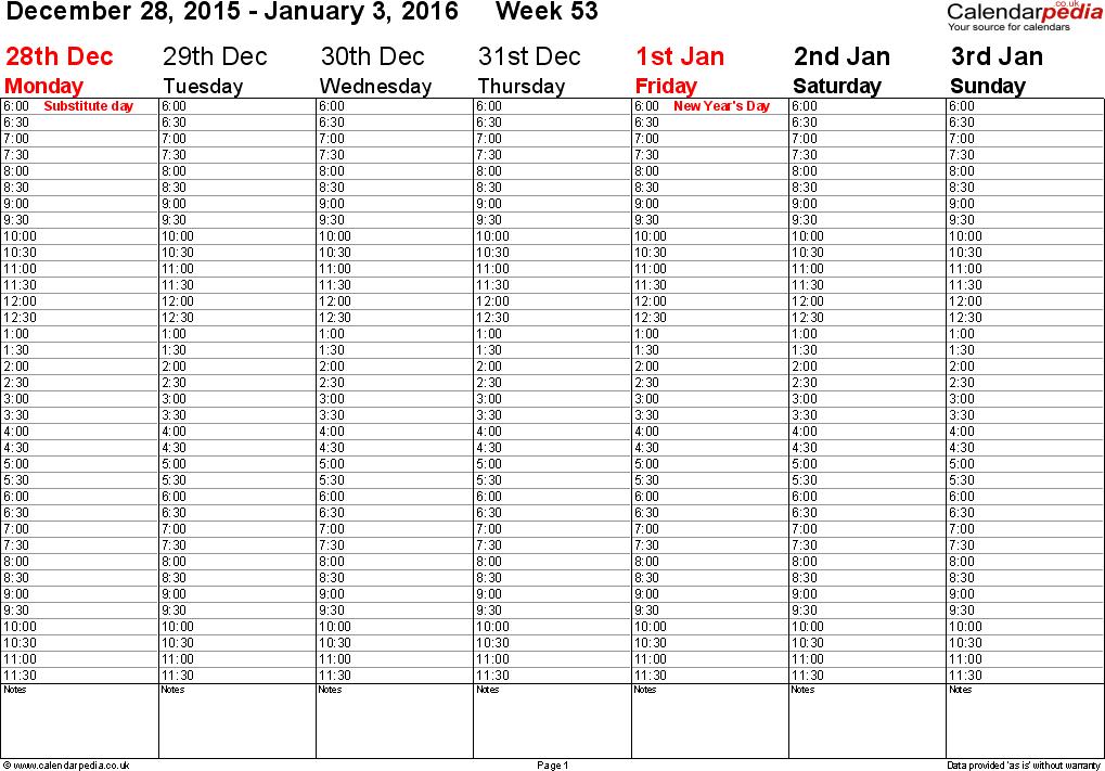 Weekly Calendar 2016 Uk
