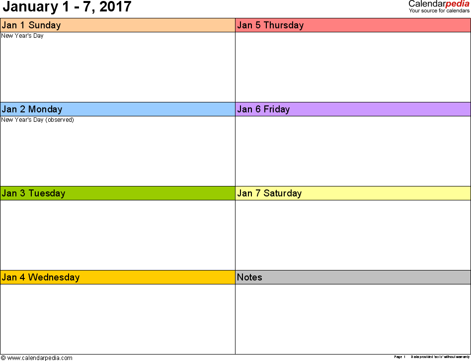 Weekly Calendar 2017 For Word
