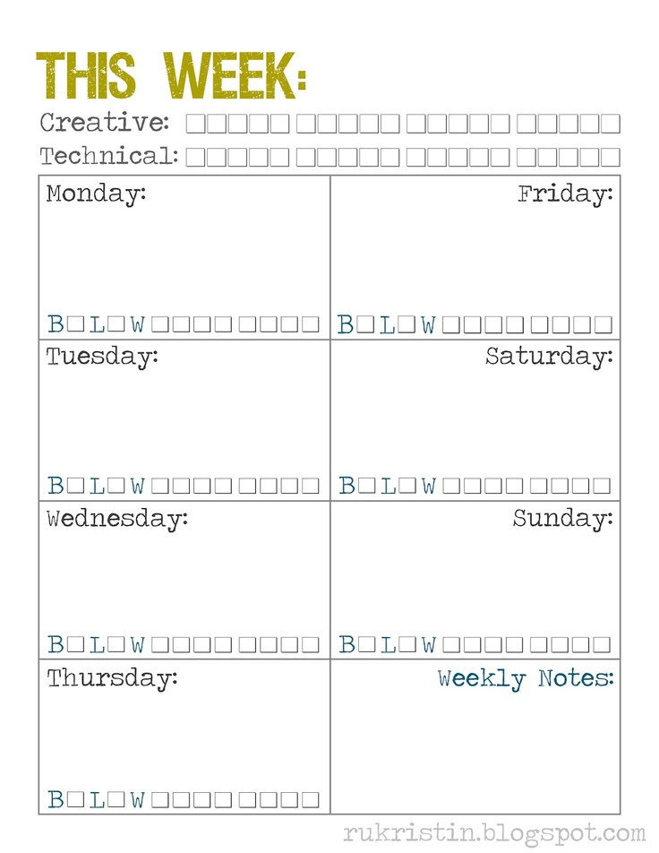 Weekly Calendar Template Print Out