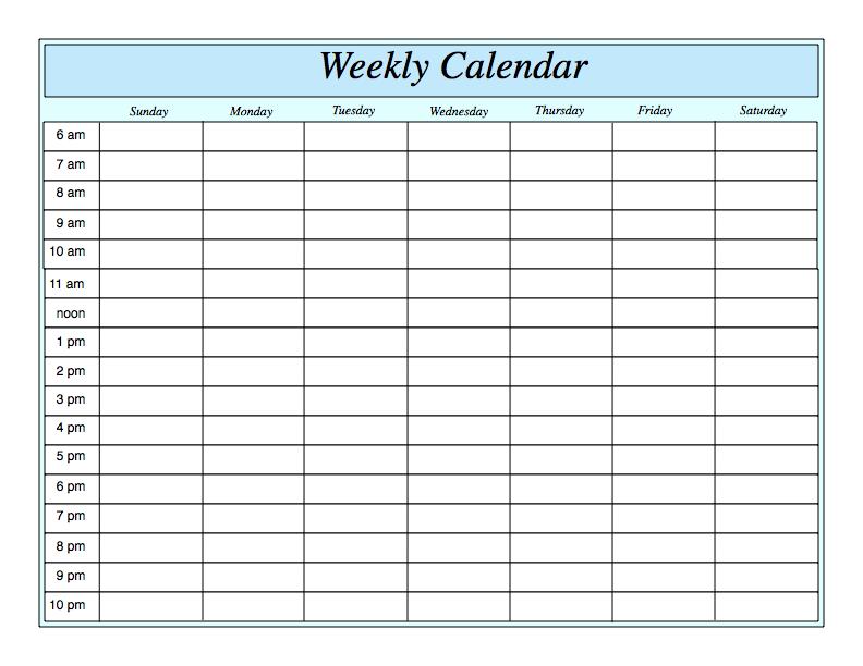 Weekly Printable Calendar