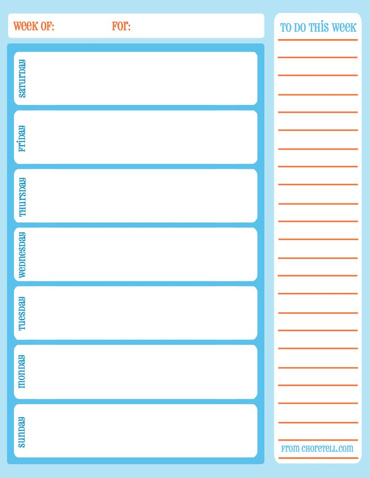 Weekly Task List Chore Calendar