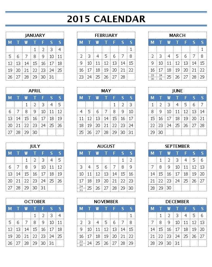 Word Template Calendar 2015   2016 Monthly Calendar Template