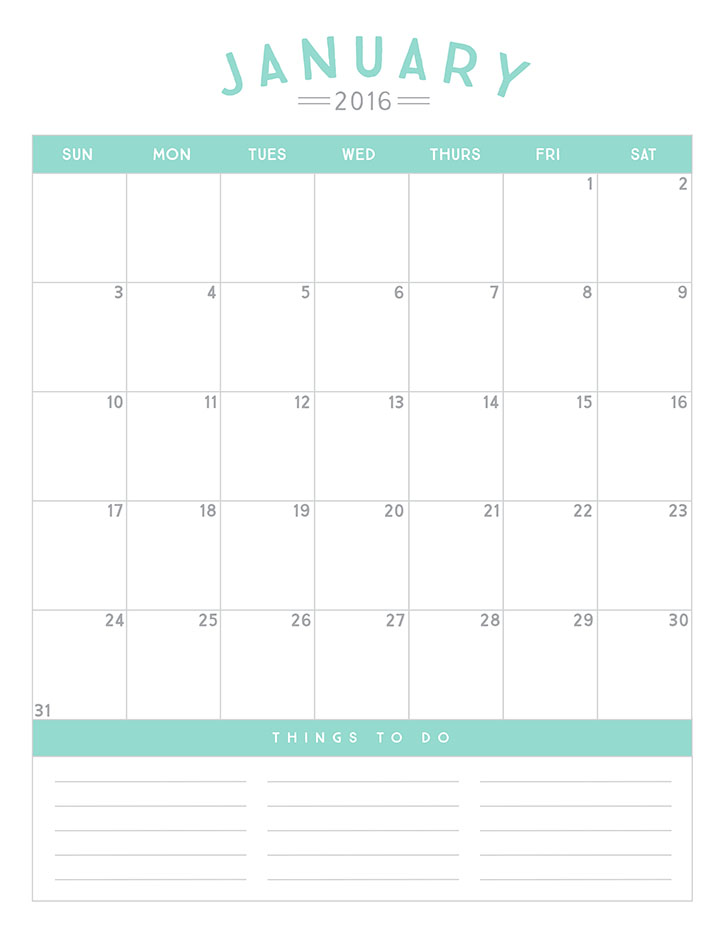 Write In Calendar 2016 Printable