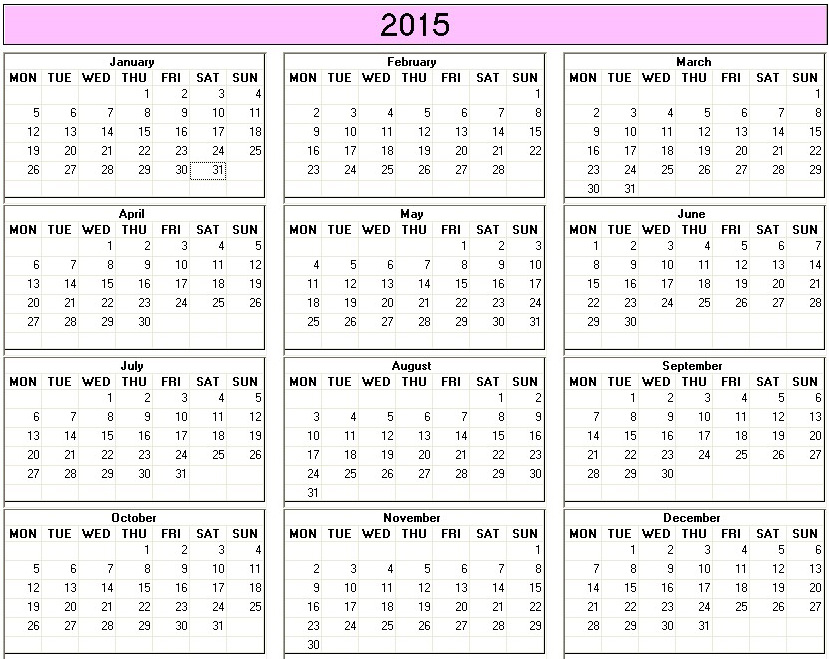 Yearly 2015 Printable Calendar Color Week Starts On Monday