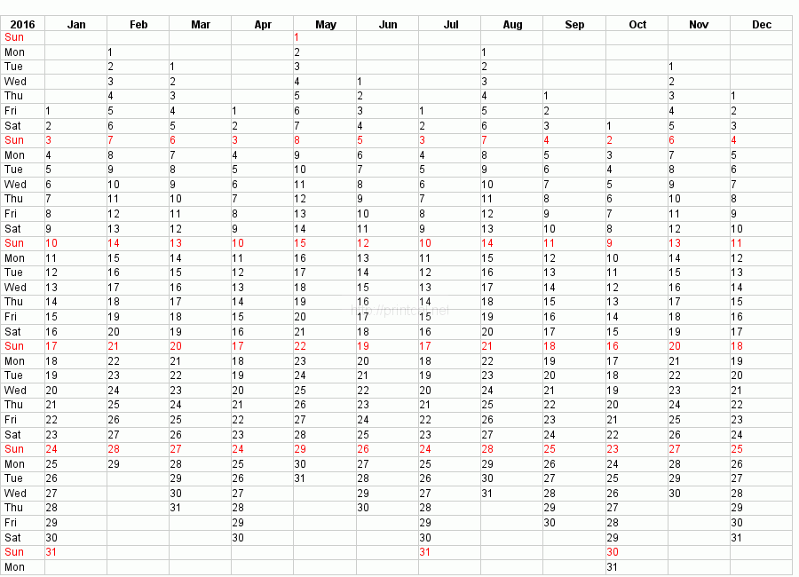 Yearly Calendar 2016 Template