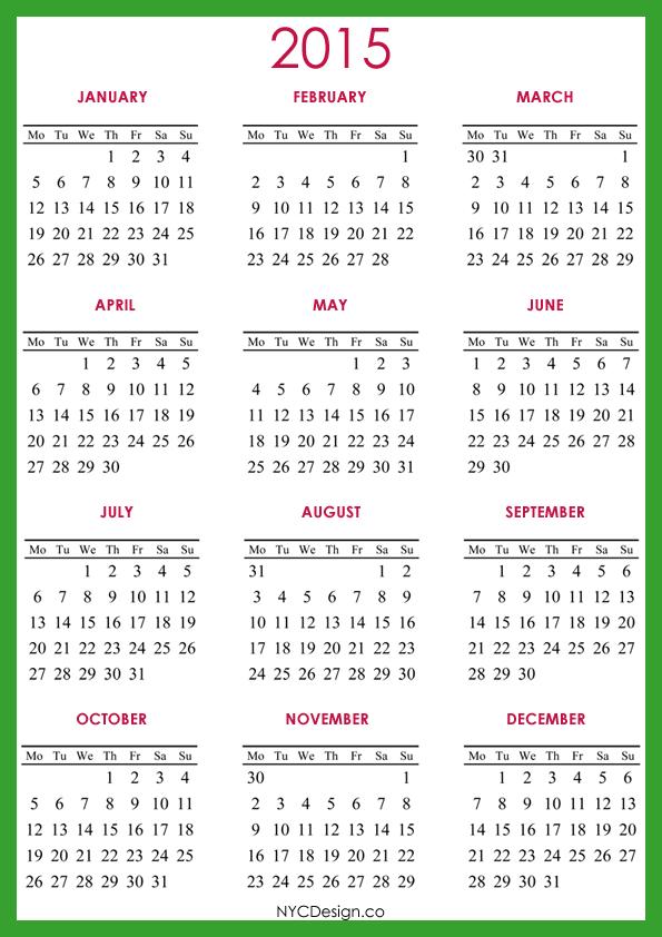 Yearly Calendar A4