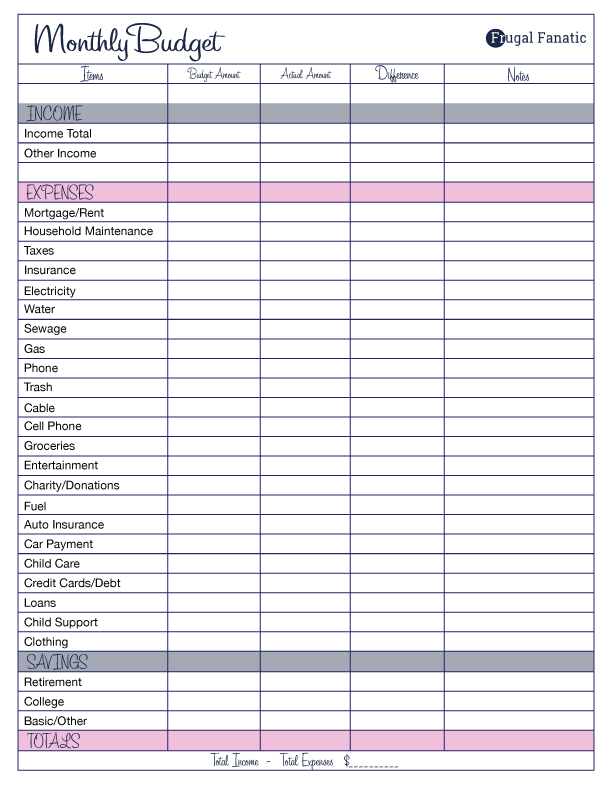 1000+ Ideas About Printable Budget On Pinterest