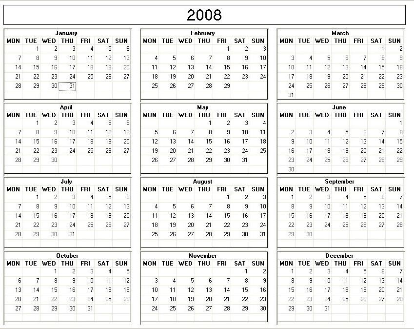 2008 Printable Blank Calendar