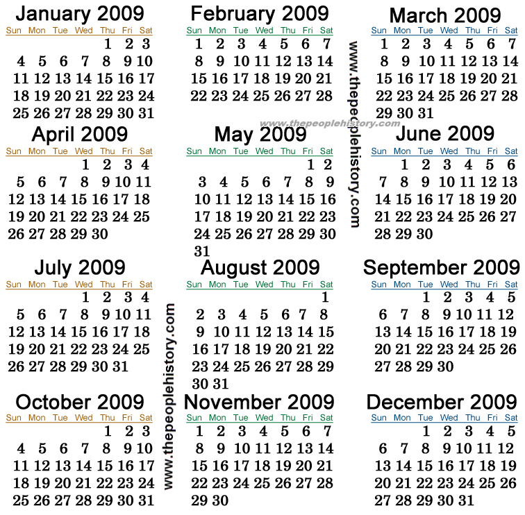January Calendar 2009 : Printable calendar template