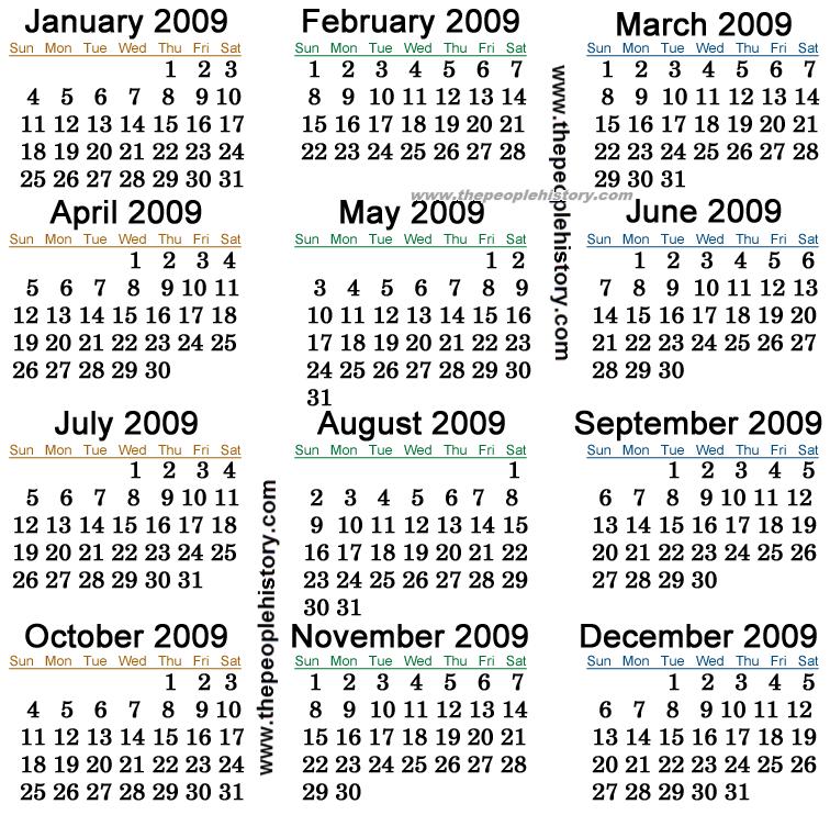 2009 Calendar India
