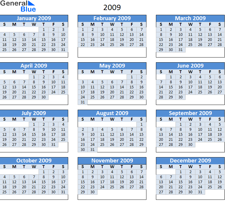 Printable Calendar 2009 » Calendar Template 2018
