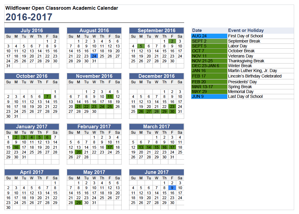 blank academic calendar