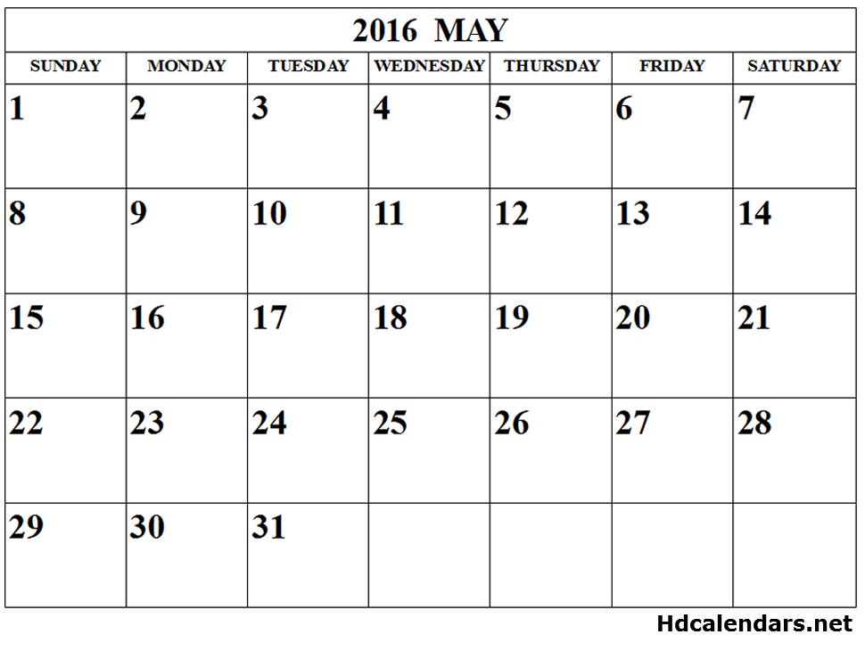 2016 May Calendar Pdf