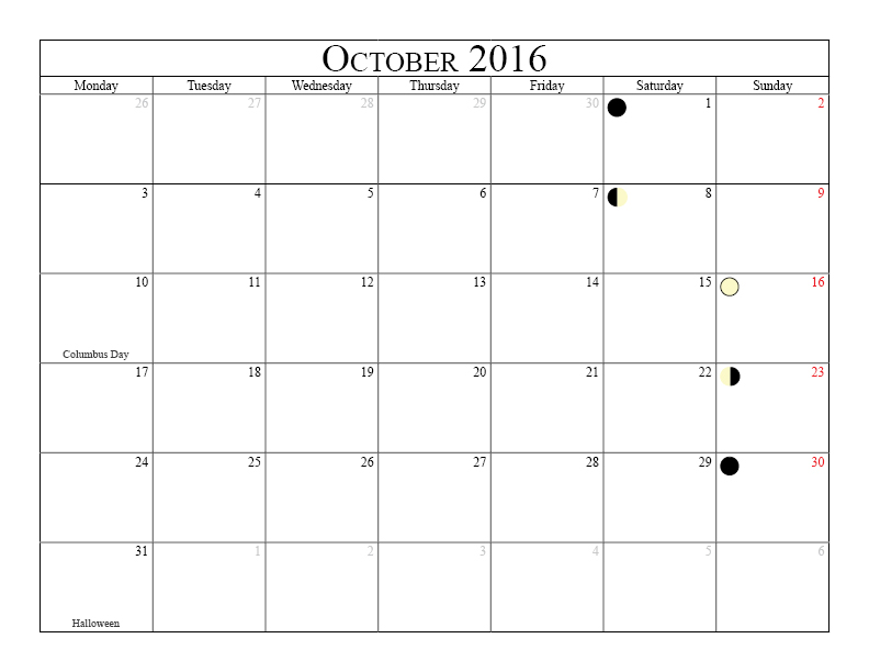 2016 Monthly Calendar With Holidays And Moon Phases Printable