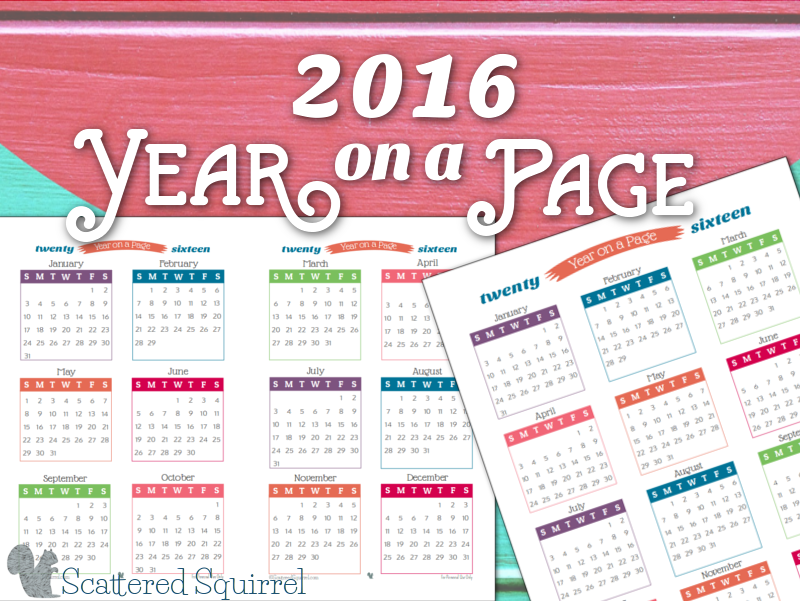 2016 Year On Page Printable Calendars Are Here!