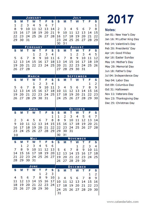 2017 Calendar Template Half Page