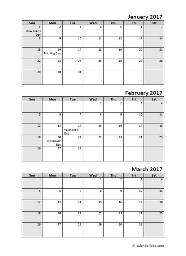 2017 Quarterly Calendar With Holidays