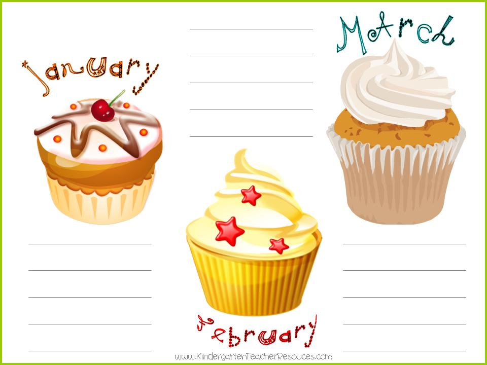 4 Best Images Of Printable Birthday Calendar Cupcakes